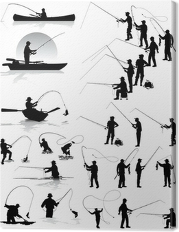 Fisherman vector silhouettes Canvas Print