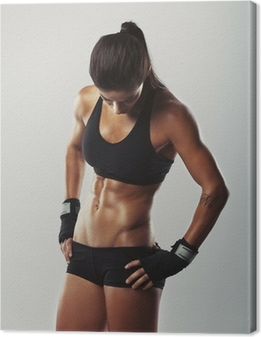 Fitness female resting after workout Canvas Print