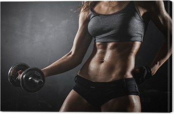 Fitness with dumbbells Canvas Print