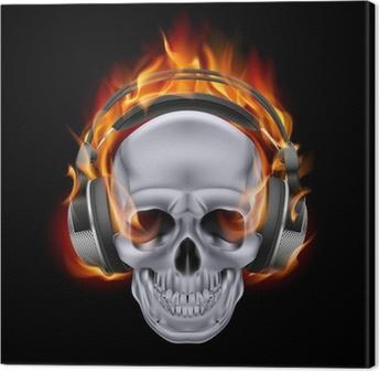 Flaming skull in headphones. Canvas Print