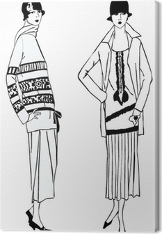 Flapper girls (1920's style): Retro fashion party Canvas Print