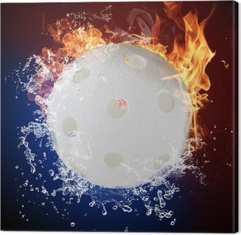 Floorball in fire flames and water splashes Canvas Print