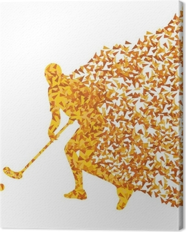 Floorball player vector silhouette made of triangle fragments ve Canvas Print