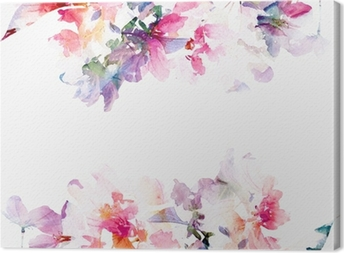 Floral watercolor background. Roses. Canvas Print