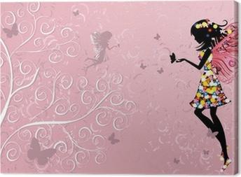 Flower Fairy near patterned wood Canvas Print