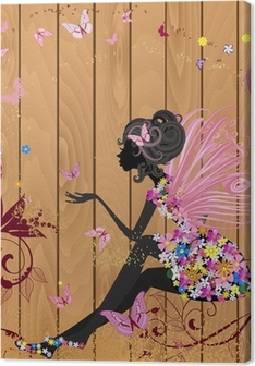 Flower Fairy on a wood texture for your design Canvas Print