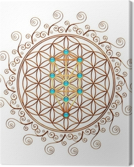 Flower of Life, Tree of Life, Kabbalah, Sephiroth Canvas Print