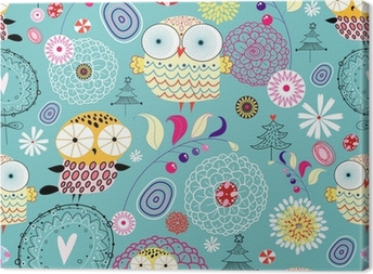 flower texture with owls Canvas Print