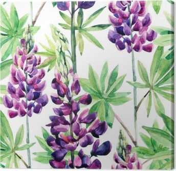 Flowers seamless pattern with watercolor lupines Canvas Print