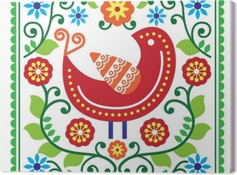 Folk art vector pattern with bird and flowers Canvas Print