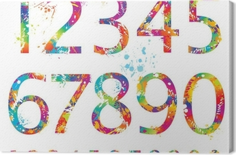 Font - Colorful numbers with drops and splashes from 0 to 9 Canvas Print