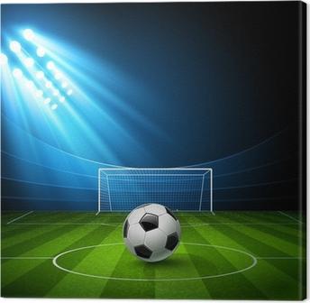 Football arena with a soccer ball. Vector Canvas Print