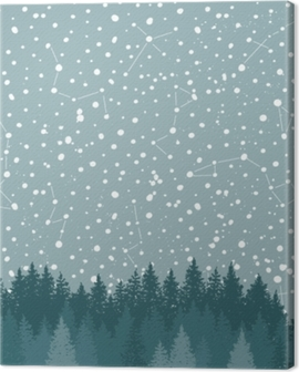 Forest and Night sky with stars vector background. Space backdrop. Canvas Print