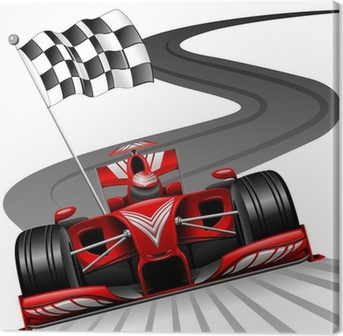 Formula 1 Red Car on Race Track Canvas Print