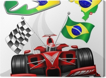 Formula 1 Red Race Car GP Brazil Canvas Print