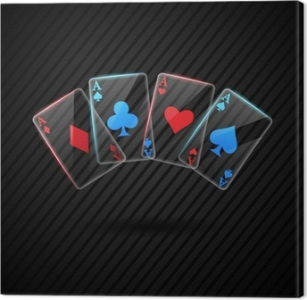 four Glass poker aces playing cards illustration transparent Canvas Print