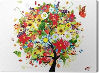 Four seasons concept. Art tree for your design Canvas Print