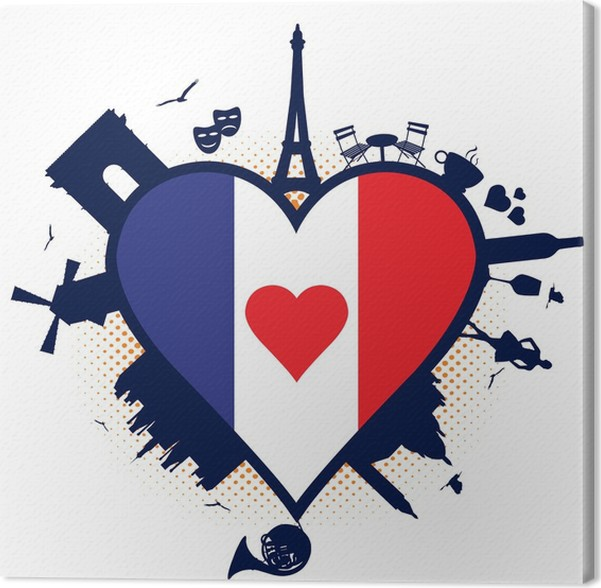 France Heart Shaped Flag And Silhouettes Canvas Print Pixers We