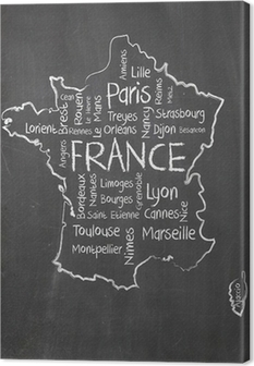 France map and words cloud with larger cities Canvas Print