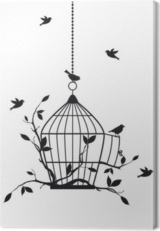 free birds with open birdcage, vector Canvas Print