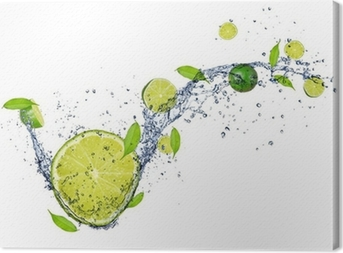 Fresh limes in water splash, isolated on white background Canvas Print