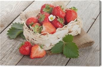 Fresh strawberry in basket Canvas Print