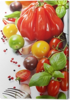 fresh tomatoes and herbs - healthy eating concept Canvas Print