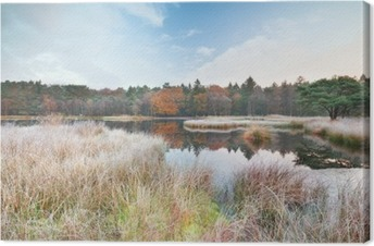 frosty morning on lake in autumn Canvas Print