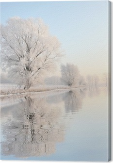 Frosty winter tree against a blue sky with reflection in water Canvas Print