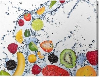 Fruits falling in water splash, isolated on white background Canvas Print