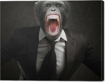 Frustrated Monkey In Business Suit Canvas Print