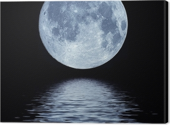 Full moon over water Canvas Print