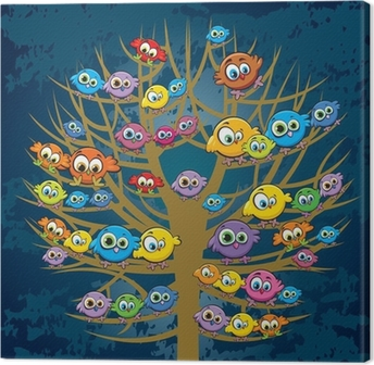 Funny birds and tree Canvas Print