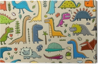 Funny dinosaurs, childish style. Seamless pattern for your design Canvas Print