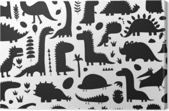 Funny dinosaurs. Seamless pattern for your design Canvas Print