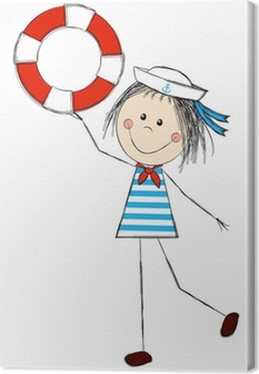 Funny girl wearing sailor costume Canvas Print