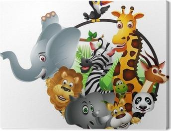 Funny wild African animal cartoon Canvas Print