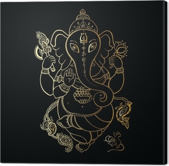 Ganesha Hand drawn illustration. Canvas Print
