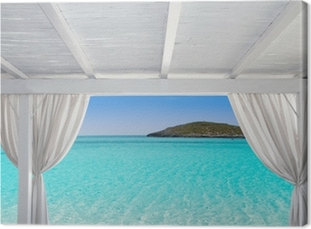 Gazebo white in Formentera Ibiza beach Canvas Print