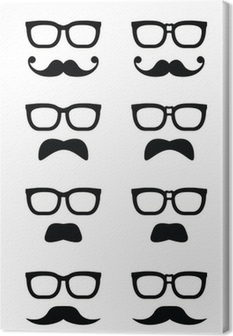 Geek glasses and moustache or mustache vector icons Canvas Print