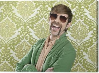 geek retro salesperson man funny mustache Canvas Print