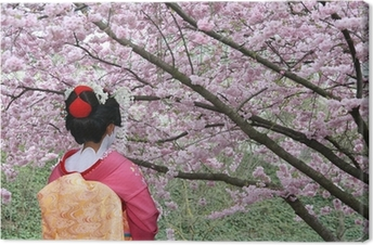 Geisha and blooming Sakura tree Canvas Print