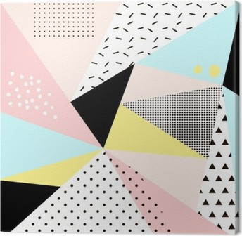 Geometric memphis background.Retro design for invitation, business card, poster or banner. Canvas Print
