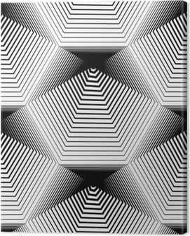 Geometric monochrome stripy seamless pattern, black and white ve Canvas Print