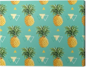 Geometric Pineapple Background - Seamless Pattern in vector Canvas Print