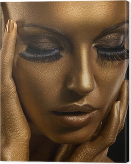 Gilt. Golden Woman's Face. Giled Make-up. Painted Skin Canvas Print