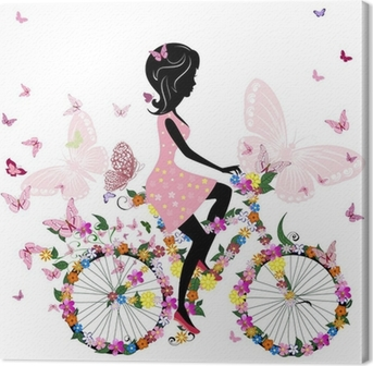 Girl on a bicycle with a romantic butterflies Canvas Print