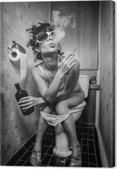 Girl sits in a toilet Canvas Print