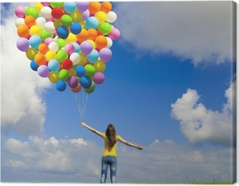 Girl with colorful balloons Canvas Print