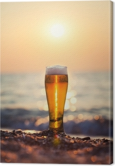 Glass of beer on a sunset Canvas Print